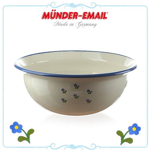 Münder Email - Bowl 36 cm - Beige with Flowers