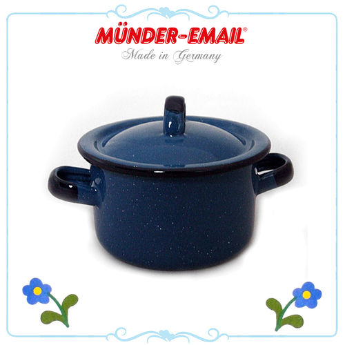 Münder Email - Children's pot with Lid - Blau
