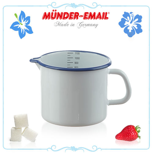 Münder Email - Measuring Cup 1.0 L - white with blue border