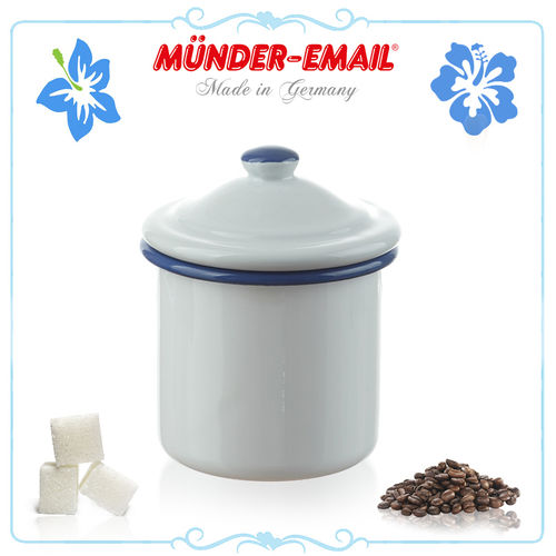 Münder Email - Sugar Bowl Ø 8 cm - white with blue border