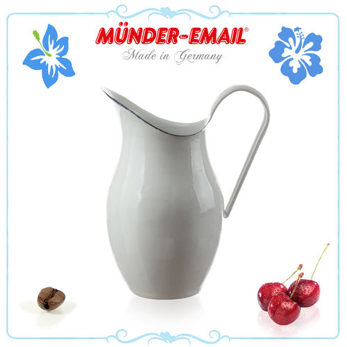 Münder Email - Water Pitcher 2.5 L - white with blue border