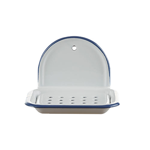 Münder Email - Soap Dish 14 cm - white with blue border