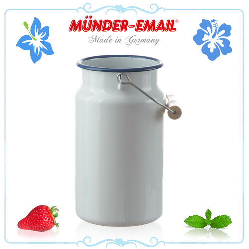 Münder Email - Milk Jug 2.0 L - white with blue border