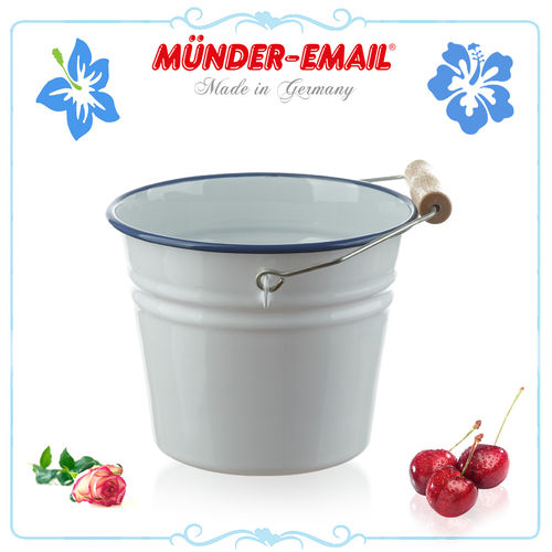 Münder Email - Bucket 14 cm - white with blue border