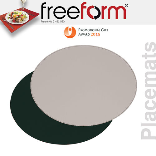 Freeform - Placemat oval - Black & Grey - 45 x 34 cm