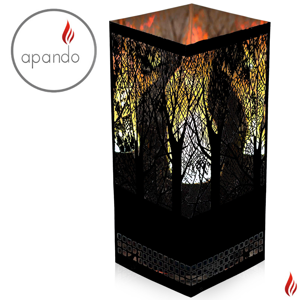 "Apando - Flame light ""Square Brazier"" - Forest black"