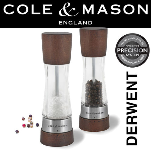 COLE & MASON - Derwent Pepper and Salt Mill Set Forest Wood
