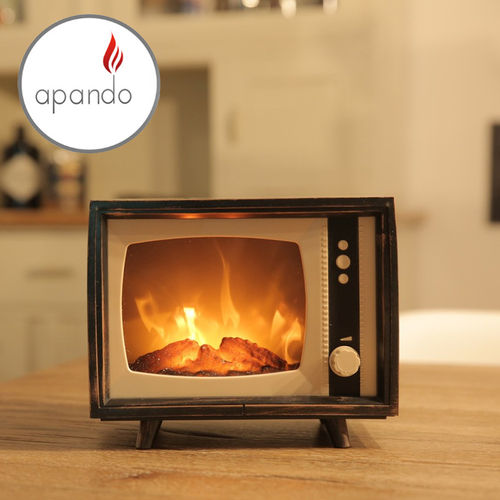 Apando - RETRO TV Deco Lamp with Moving Flame Optics