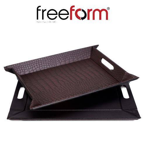 Freeform - Tray - Mock Croc Brown & Black - 55 x 41 cm