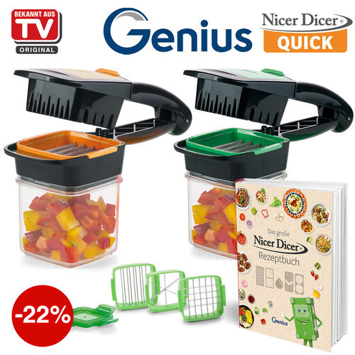 Genius - Nicer Dicer QUICK + cookbook | 8-pcs.