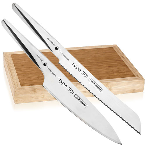 CHROMA Type 301 - Chef's Knife + Bread Knife + Cutting Board