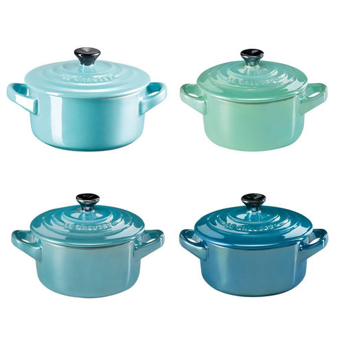 Le Creuset - 4er Set Mini-Cocotte - Metallics Blue Green