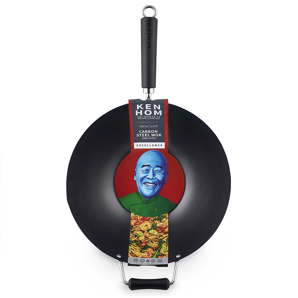 KEN HOM - Non Stick Carbon Steel Wok in 4 Sizes