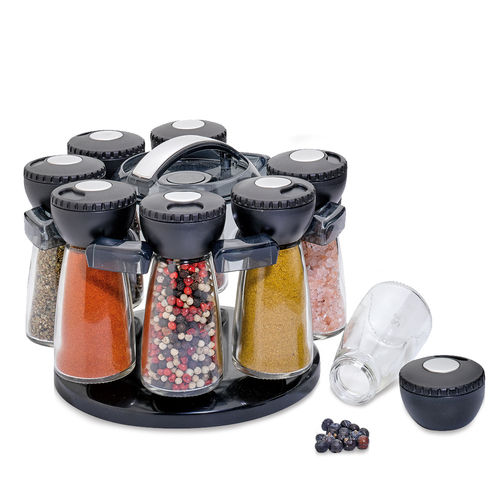 Küchenprofi - spice rack with 8 glasses - black