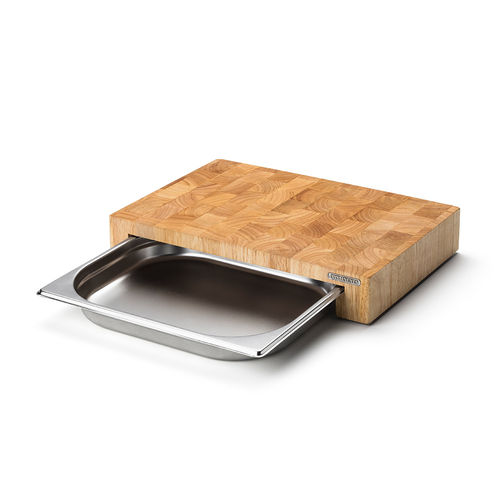 Continenta - cutting board with stainless steel drawer, end grain