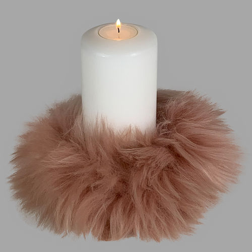 Qult Farluce candle real fur - Merino Lamb Old pink