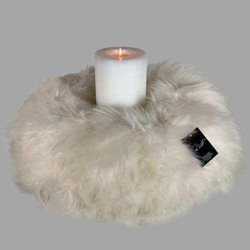 Qult Farluce candle real fur - merino lamp ivory