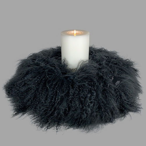 Qult Farluce candle real fur - tibet lamp anthracite