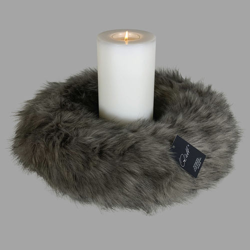 Qult Farluce candle real fur - Milano woven fur grey