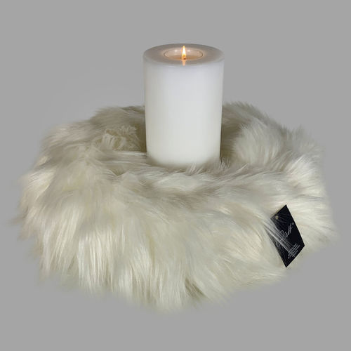 Qult Farluce candle real fur - Milano woven fur ivory