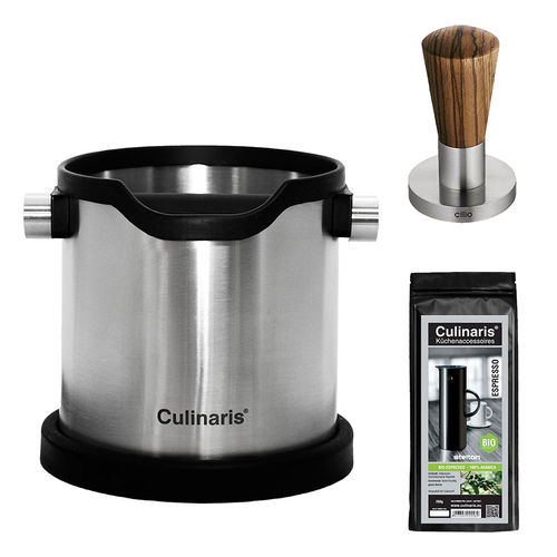 Culinaris - Espresso Knock Box with Culinaris coffee & cilio tamper